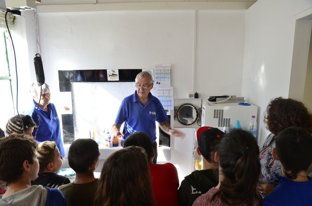 Russell explaining the autoclave